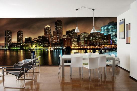 Фотообои для кухни с видом ночного города