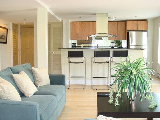 Соединить зону приема гостей и кухню — хорошая идея для расширения пространства
