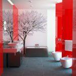 Фото 29: Сочетание белых и красных панелей в ванной