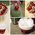 Фото 53: Украшение новогоднего топиария елочными шарами