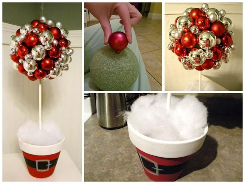 Украшение новогоднего топиария елочными шарами
