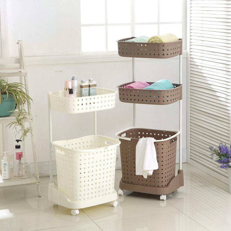 Пластиковый органайзер для ванной с корзиной для белья