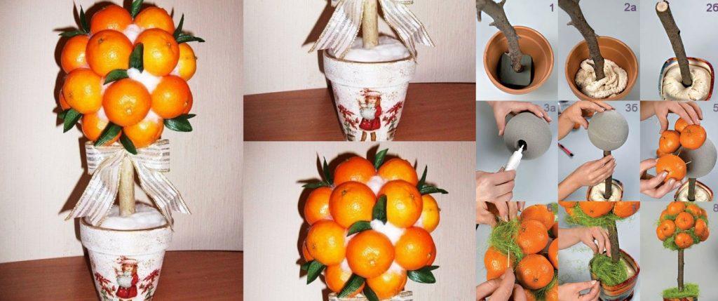 Изготовление топиария из мандаринов