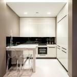 Барная стойка для кухни в белом интерьере
