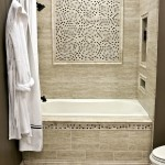 Фото 21: Бежевый кафель для ванной комнаты
