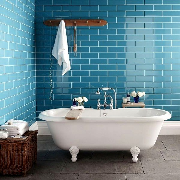 Голубой кафель для ванной комнаты фото