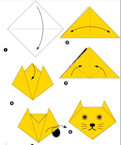 Сложить кота из бумаги