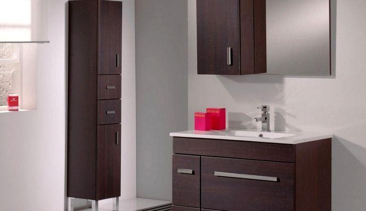 Тёмное дерево шкафчик для ванной
