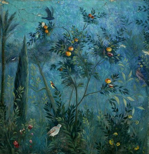 Красивый синий дизайн фрески