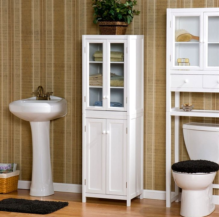 White cabinet for bathroom