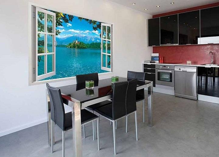 Имитация окна, пейзажа на фотообоях обеспечивает эксклюзивный интерьер помещения, визуально увеличивает его размеры