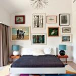Стильная современная спальня с выверенными линиями и геометричным ярким напольным покрытием