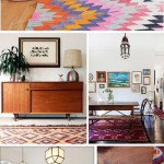 Коллаж: яркие ковры в ярких интерьерах