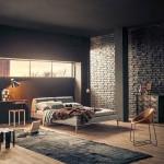 Интерьер спальни в стиле лофт и аскетичное напольное покрытие