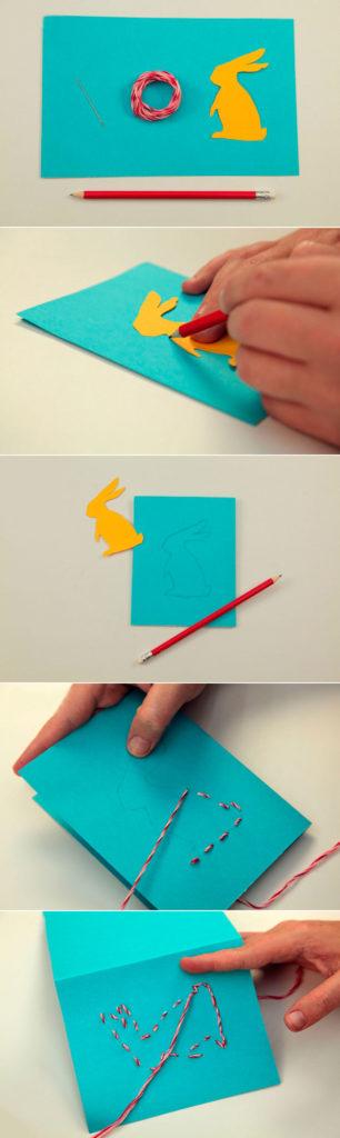 Вышивка кролика на открытке