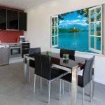 Фото 92: Имитация окна на кухне фотообоями