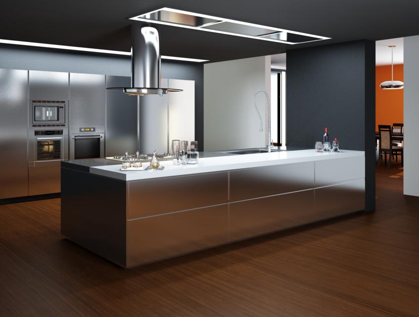 Металлик на кухне в стиле хай-тек