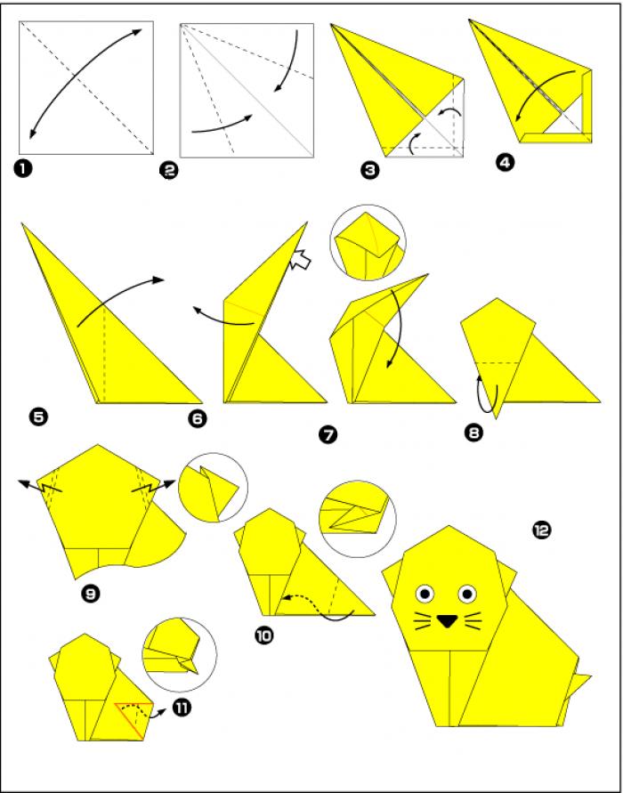 Схема кошки-оригами