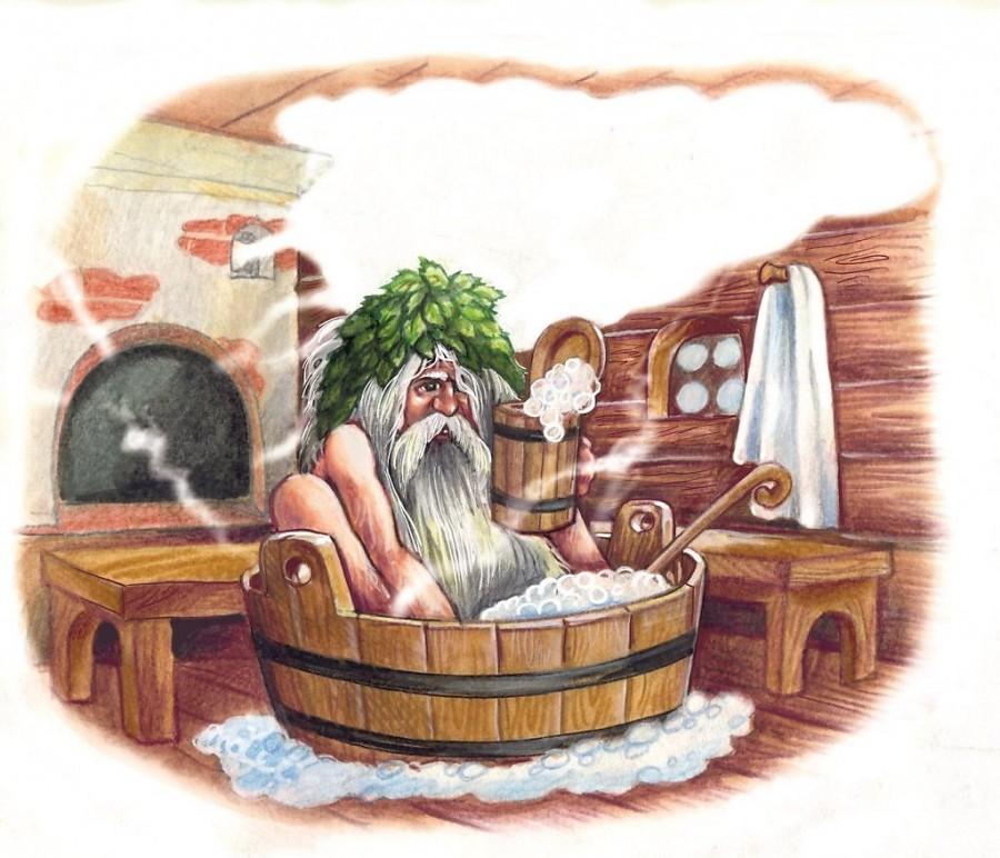 Пар в бревенчатой бане