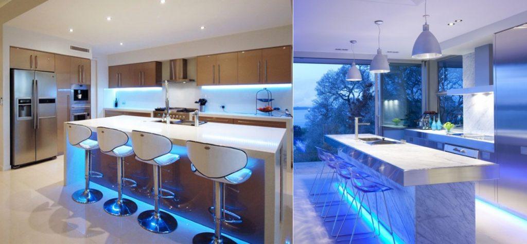Подсветка на кухне в стиле хай-тек