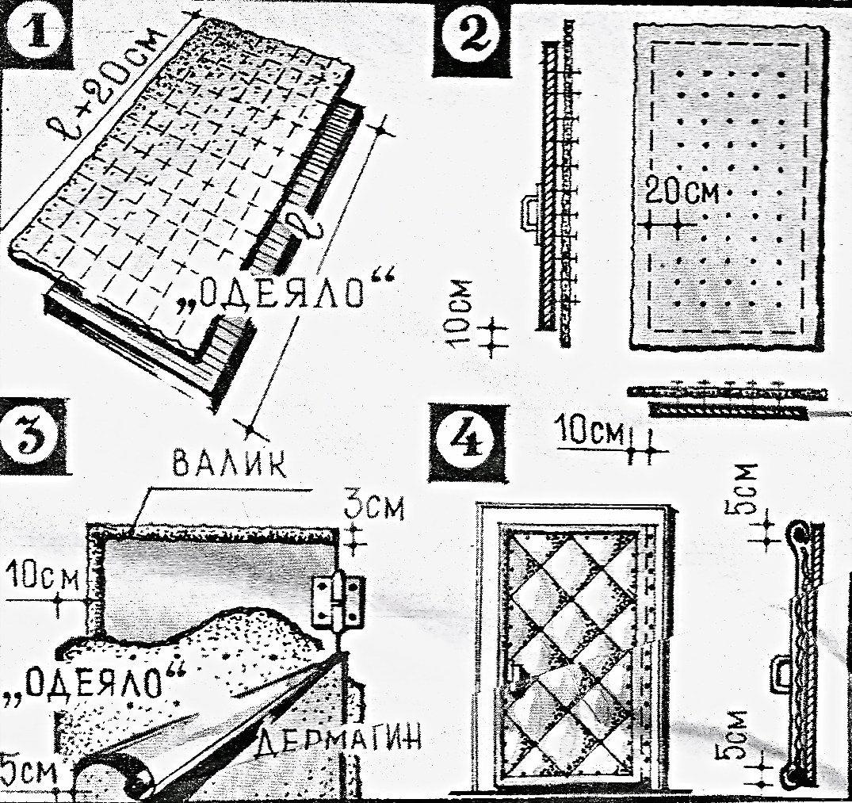 Схема обивки дверей дерматином