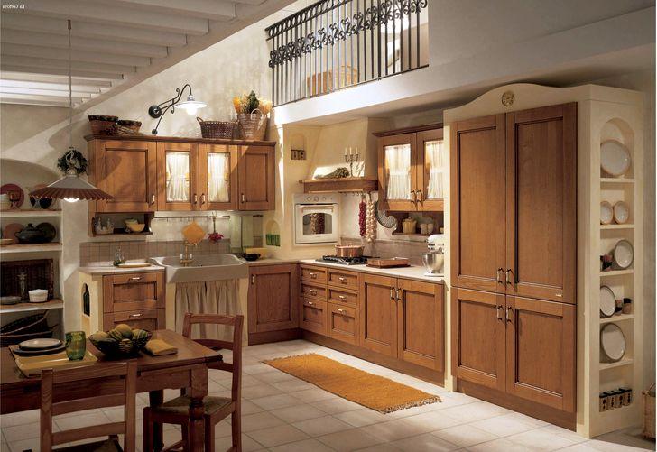 Кухня в стиле прованс с деревянной мебелью