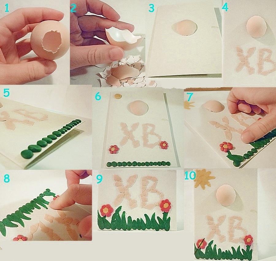 Открытка с яичной скорлупой и пластилином