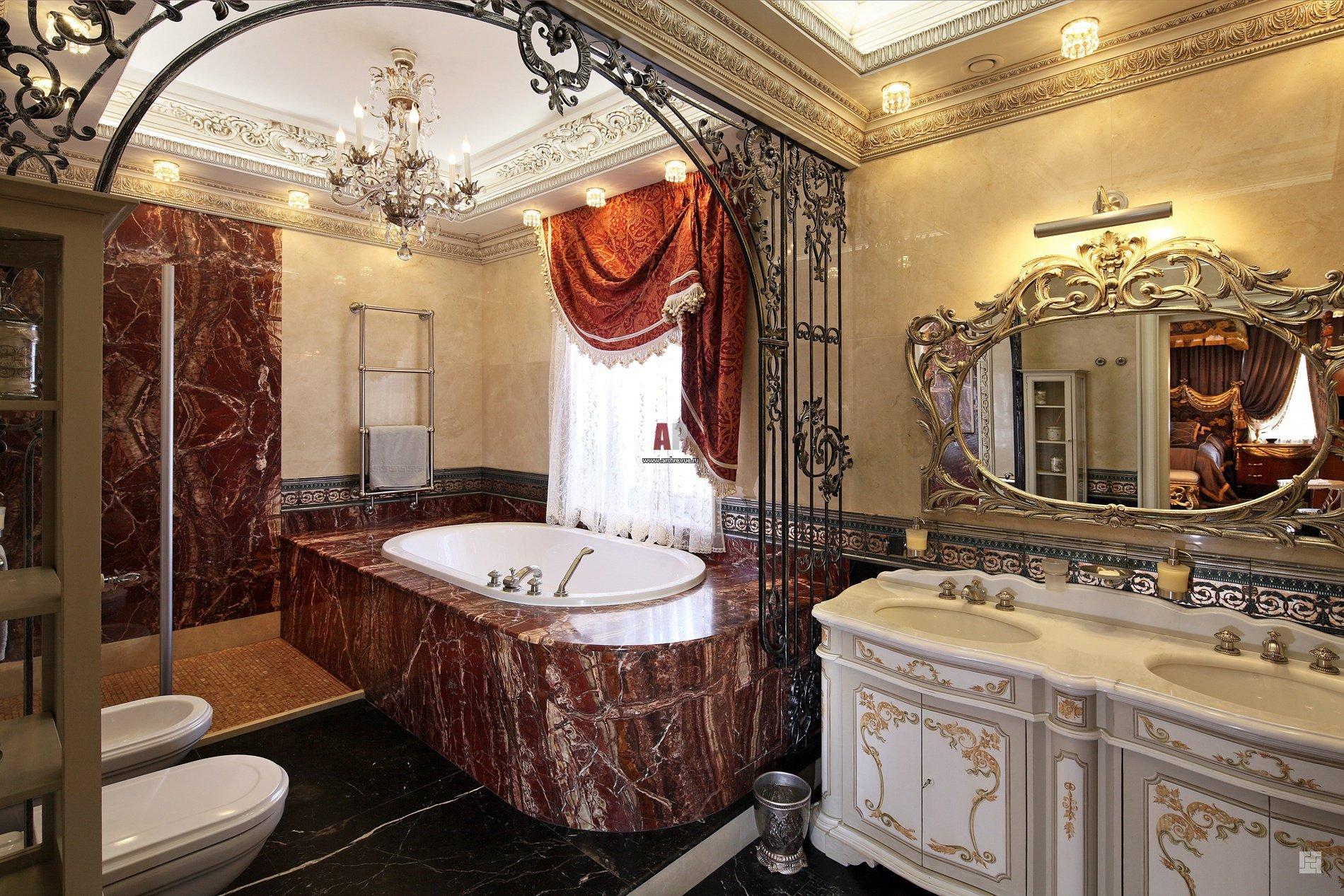 Дизайн ванной комнаты в стиле рококо