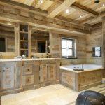 Дизайн ванной в деревянном доме в стиле шале
