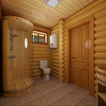 Фото 42: Отделка ванной в бревенчатом доме