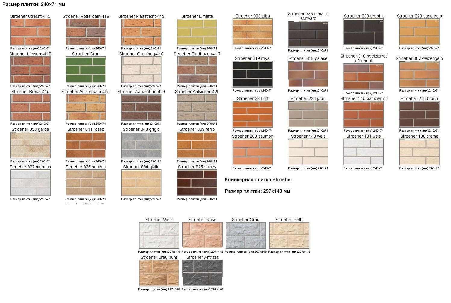 Варианты клинкерной плитки Stroher