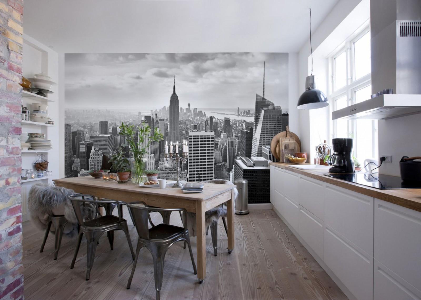 Фотообои в виде города на кухне