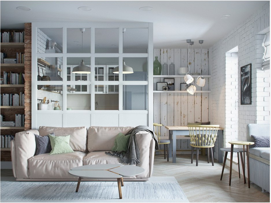 Перегородка между кухней и гостиной с помощью гипсокартона и стекла