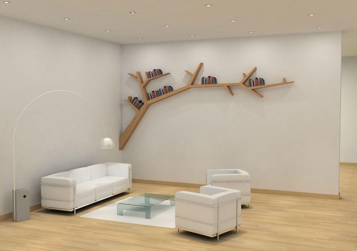 Ассиметричная полка в виде дерева в гостиной