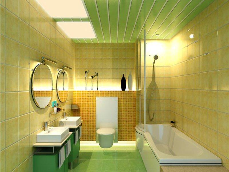 Отделка потолка ванной пластиковыми панелями