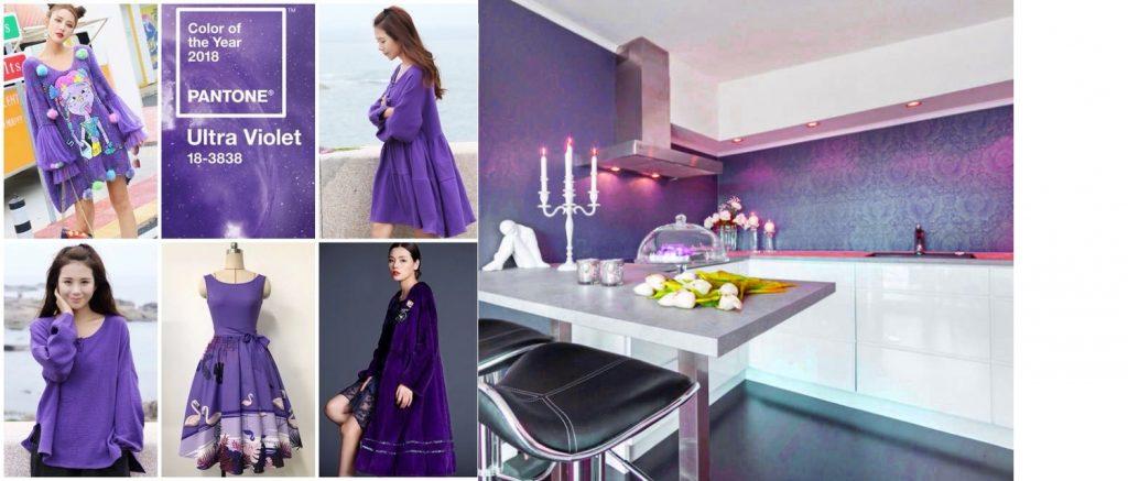 Цвет ультрафиолет в дизайне одежды и обоев