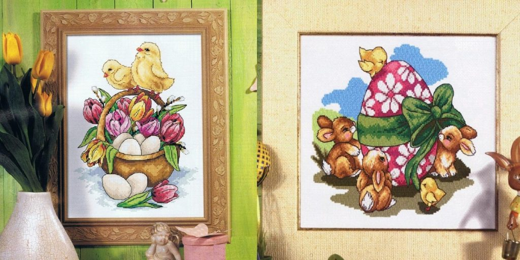 Картины с вышивкой на Пасху