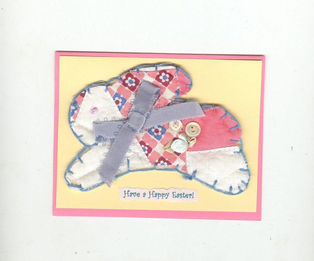 Сшитый зайка на открытке