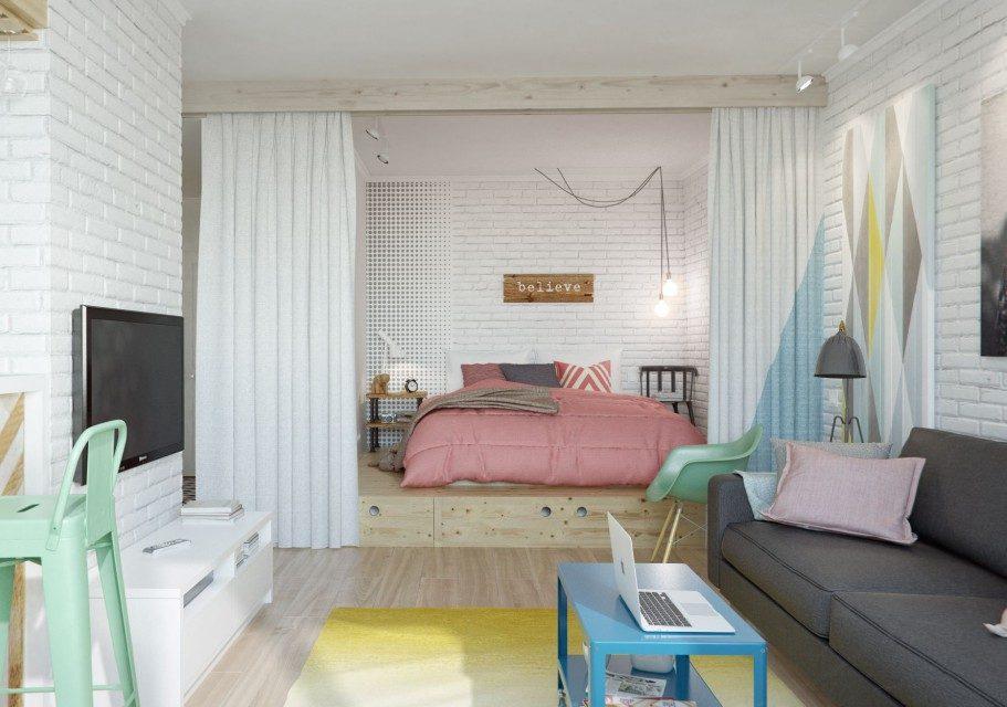 Зонирование комнаты с помощью кровати подиума