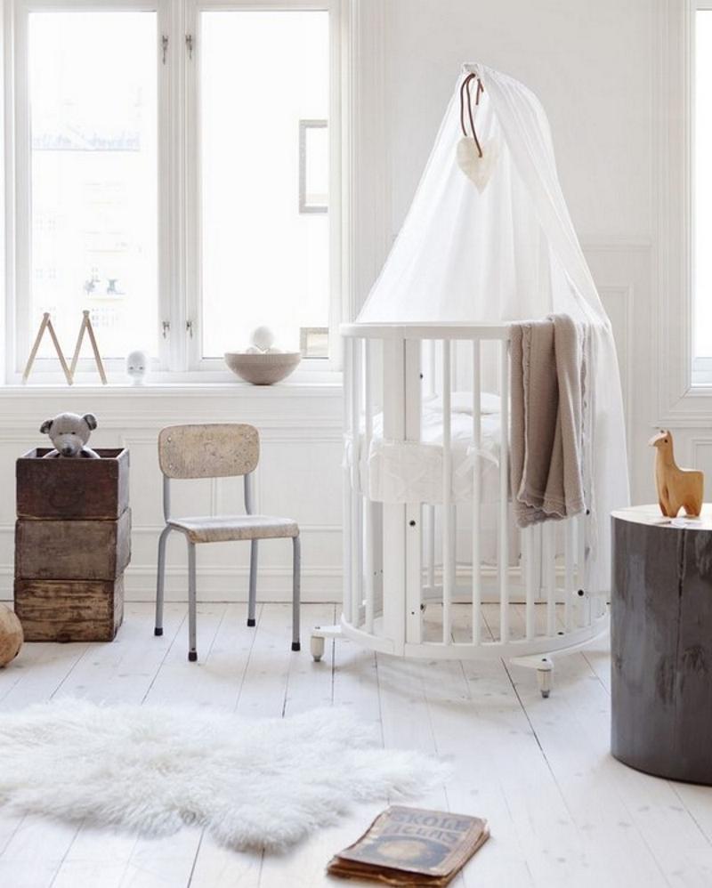 Детская комната для новорождённой в скандинавском стиле