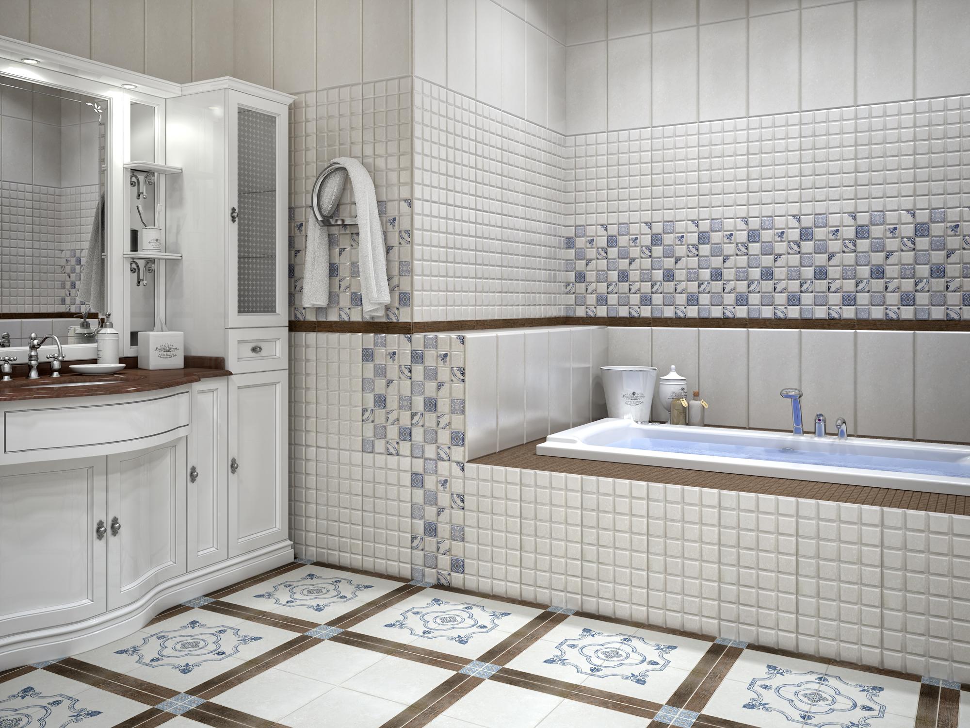 Дизайн с помощью плитки в ванной