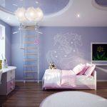 Фото 97: Гипсокартонный потолок в детской комнате для девочек