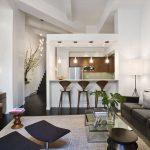 Фото 60: Гипсокартонный комплекс на кухне-студии