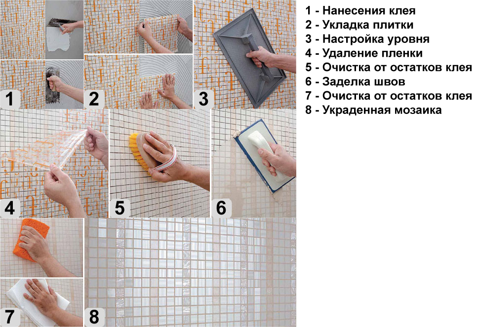 Как положить плитку мозаику в ванной комнате своими руками