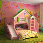 Оформление комнаты для девочки с кроватью-горкой