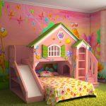 Фото 60: Оформление комнаты для девочки с кроватью-горкой