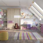 Фото 44: Комната для девочек на мансарде