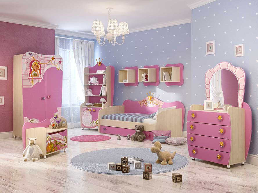 Мебель без острых углов в детской комнате для девочек