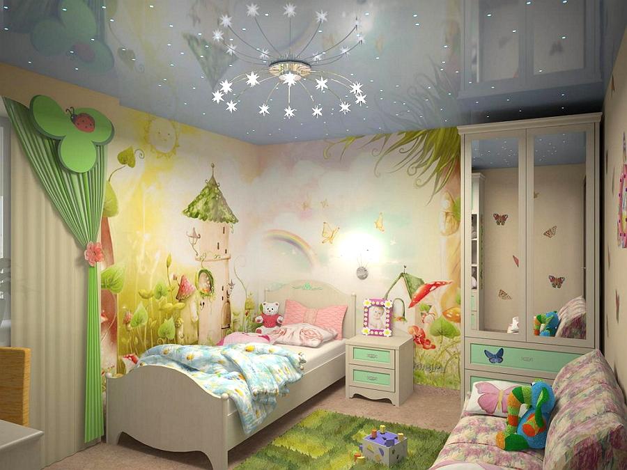 Оформление потолка в детской комнате для девочек