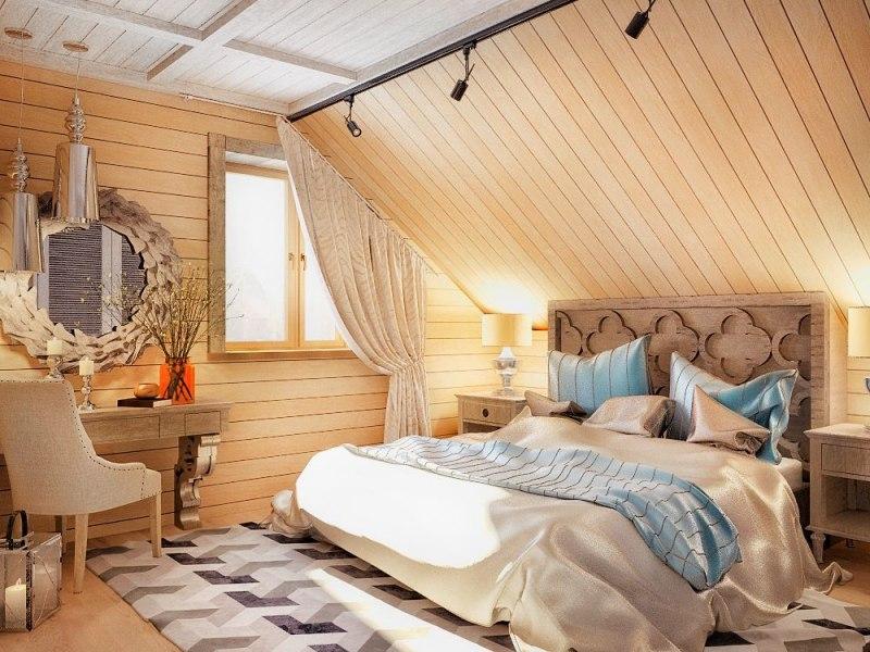Оформление спальни на мансарде в теплых тонах